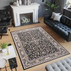 LAILA Tapis Traditionnel Ornamental Floral Bordé Noir Gris Beige Doux