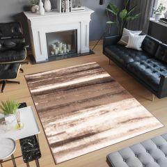Laila Teppich Kurzflor Modern Beige Braun Creme Streifen Meliert Verwischt Design Wohnzimmer Schlafzimmer