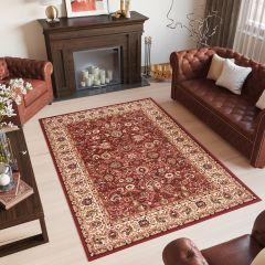 Laila Teppich Klassisch Orientalisch Kurzflor Rot Schwarz Braun Creme Floral Ornament Wohnzimmer Schlafzimmer