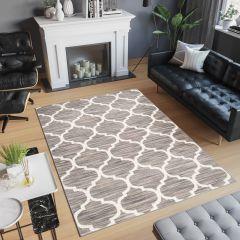 Laila Teppich Kurzflor Modern Braun Grau Weiß Geometrisch Gitter Marokkanisch Verwischt Meliert Design Wohnzimmer Schlafzimmer