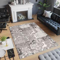 Laila Teppich Klassisch Kurzflor Grau Dunkelgrau Creme Floral Blumen Vintage Design Wohnzimmer Schlafzimmer