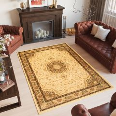 YESEMEK Tapis Traditionnel Floral Bordé Crème Marron Doux