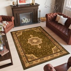 YESEMEK Tapis Traditionnel Floral Bordé Vert Beige Doux