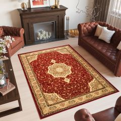 YESEMEK Tapis Traditionnel Floral Bordé Rouge Beige Doux