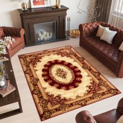 YESEMEK Area Rug Short Pile Traditional Classic Decorative Red