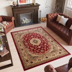 YESEMEK Klassisch Teppich Kurzflor Rot Beige Floral Design