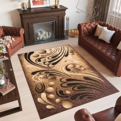Bali Teppich Kurzflor Modern Braun Beige Creme Meliert Abstrakt