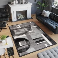 SCARLET DELUXE Area Rug Abstract Grey White Shapes Flecked Durable