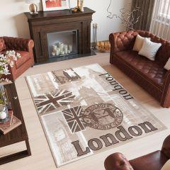SCARLET DELUXE Area Rug Modern Brown Beige London City Durable