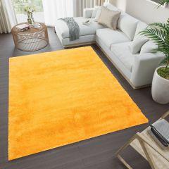 Silk Shaggy Teppich Hochflor Modern Langflor Einfarbig Gelb