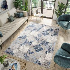ASTHANE Teppich Kurzflor Creme Grau Blau Modern Design Meliert