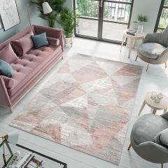 ASTHANE Teppich Kurzflor Creme Grau Rosa Modern Design Meliert