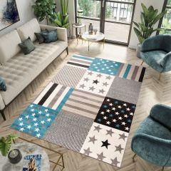 FIESTA Teppich Kurzflor Grau Blau Creme Modern Design Sterne