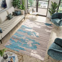 FIESTA Teppich Kurzflor Grau Creme Blau Modern Design Meliert