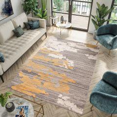 FIESTA Teppich Kurzflor Grau Creme Gelb Modern Design Meliert