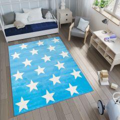 Smile Teppich Geometrisch Sterne Blau Weiß Kinderzimmer