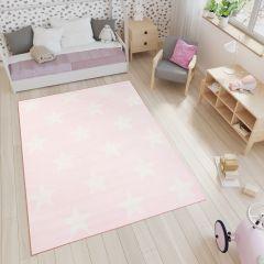Smile Teppich Kinderteppich Sterne Rosa Weiß Jugendzimmer