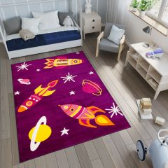 SMILE Area Rug Kids Room Play Mat Space Cosmos Rocket Purple