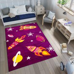 Smile Teppich Kinderteppich Lila Bunt Weltall Design