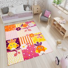 SMILE Area Rug Kids Room Play Mat Animal Birds Yellow Orange Pink