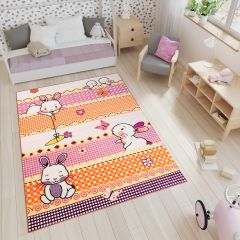 SMILE Area Rug Kids Room Play Mat Animal Bunny Rabbit Pink Orange