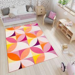 Smile Teppich Floral Bunt Pink Gelb Orange Kinderzimmer