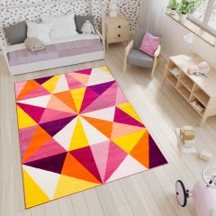 SMILE Tapis Moderne Géométrique Triangles Blanc Multicolore Lisse