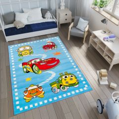 SMILE Area Rug Children Kids Room Play Mat Cars Vehicles Blue