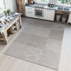 PRIME Indoor Outdoor Area Rug Sisal Kitchen Dining Square Grey