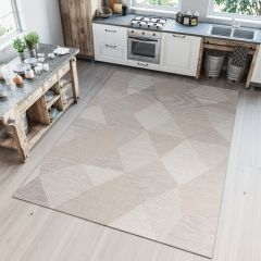 PRIME Indoor Outdoor Area Rug Sisal Kitchen Geometric Triangle Beige