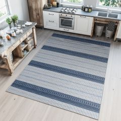 Prime Teppich Sisal Outdoor Blau Creme Modern Geometrisch Design