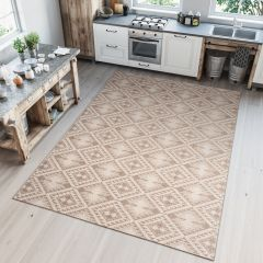 Kitchen Tappeto Sisal Cucina Beige Taup  Astratto  Indoor