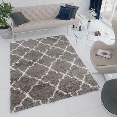 RIO Teppich Shaggy Hochflor Gitter Dunkelgrau Modern Design
