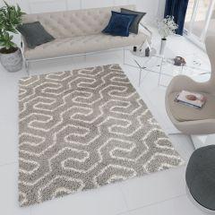 RIO Teppich Shaggy Hochflor Hellgrau Geometrisch Design Modern