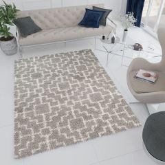 RIO Teppich Shaggy Hochflor Hellgrau Gitter Modern Design