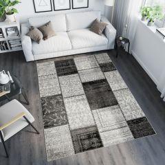 TANGO Vloerkleed Grijs Zwart Modern Design Duurzaam Geometrisch