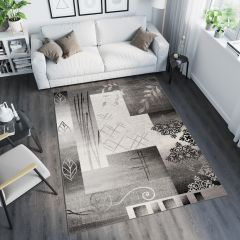 TANGO Modern Contemporary Area Rug Abstract Leaf Grey