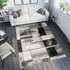 TANGO Vloerkleed Grijs Abstract Modern Design Geometrisch Duurzaam