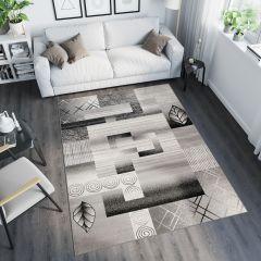 TANGO Teppich Modern Kurzflor Hellgrau Vierecke Design