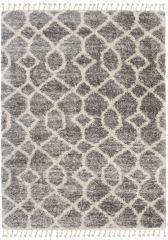 Versay Fransen Teppich Shaggy Grau Creme Geometrisch Zig Zag