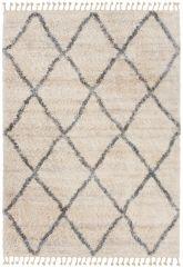 Versay Fransen Teppich Shaggy Creme Grau Geometrisch Karo