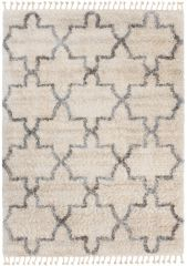 Versay Fransen Teppich Shaggy Creme Grau Marokkanisch Gitter