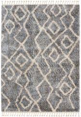 Versay Fransen Teppich Shaggy Grau Modern Zig Zag Design