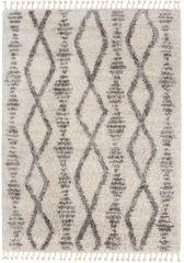 Versay Fransen Teppich Shaggy Creme Grau Marokkanisch Design