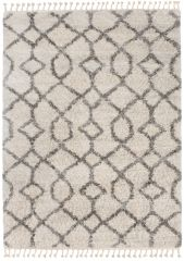 Versay Fransen Teppich Shaggy Creme Grau Geometrisch Zig Zag