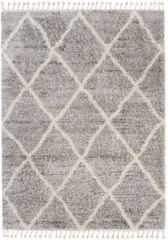 Versay Fransen Teppich Shaggy Grau Creme Geometrisch Karo