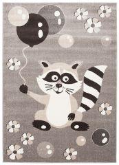 FIESTA Kinderteppich Kurzflor Grau Taupe Meliert Waschbär Blumen