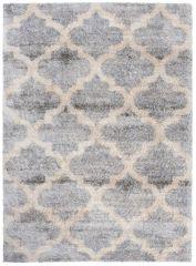 Versay Teppich Shaggy Grau Creme Marokkanisch Gitter