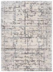 VERSAY Shaggy Area Rug Designer Abstract Lines Cream Grey