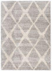 Versay Teppich Shaggy Hellgrau Creme Geometrisch Karo